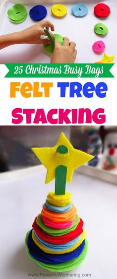 Create a colorful stacking tree that encourages color and size sorting as your toddler or preschooler builds. Part of the 25 Christmas Busy Bags Series!