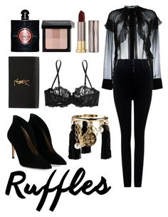 """""""Ruffles"""" by slytherinemily on Polyvore featuring Givenchy, Citizens of Humanity, La Perla, Oscar de la Renta, Gianvito Rossi, Yves Saint Laurent, Bobbi Brown Cosmetics and Urban Decay"""