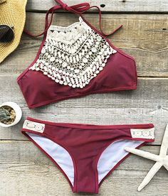 Breathtaking One! $29.99 Only with short free shipping! Our blooming above lace halter bikini set is absolutely perfect for its design&fit! Doubt it? Try one Now with more holiday discounts at Cupshe.com