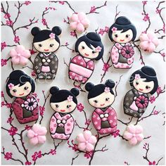 """""""In the cherry blossom's shade, there's no such thing as a stranger.""""   Kawaii kokeshi doll cookies!"""