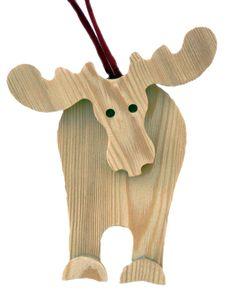 Simpatica alce in legno di larice, con finitura spazzolata, da appendere all'albero di natale