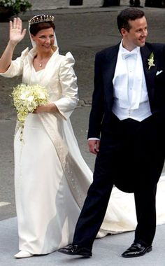 Princess Martha Louise of Norway    The princess married author Ari Behn in 2002 in an elegant two-piece by Wenche Lyche with some wonderfully dramatic and powerful sleeves!