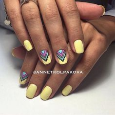 Beautiful summer nails Bright summer nails Drawings on nails Ethnic nails Manicure by summer dress Medium nails Nail designs with pattern Nails ideas 2017 Nail Art Design Gallery, Best Nail Art Designs, Trendy Nail Art, Stylish Nails, Semi Permanente, Bright Summer Nails, Bright Nail Art, Nails 2017, Yellow Nails