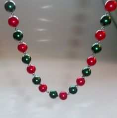 Handmade Beaded Necklace Christmas Jewelry by DevineEssence, $15.99