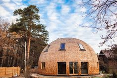 SkyDome, dome home, dome house, pine wood, wooden dome home, energy efficient architecture, energy efficient home, green architecture, spherical home