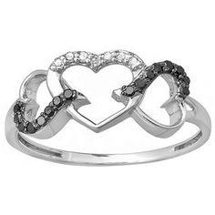 Elora 10k White Gold 1/6ct TDW Black and White Diamond Promise 3-heart Love Engagement Ring (I-J, I2-I3) (Size 9), Women's, White I-J