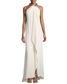 Beaded Draped Metallic Halter Gown, Eggshell by Carmen Marc Valvo at Neiman Marcus.