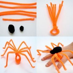 Easy pipe cleaner crafts Chameleon pipe cleaner creature Easter pipe cleaner finger puppets Make a pipe cleaner animal craft How to make a pipe cleaner animals Pipe cleaner octopus Things to make with pipe cleaners Animal Crafts For Kids, Fun Crafts For Kids, Craft Activities For Kids, Diy Arts And Crafts, Toddler Crafts, Preschool Crafts, Diy For Kids, Halloween Activities, Halloween Crafts