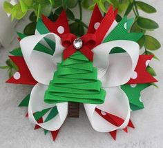 Christmas Tree Bow 5 inch Boutique Bow/alligator clip Perfect for the Christmas Season!