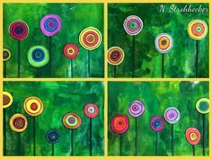 Flowers in the style of Hundertwasser - Art Ideas Spring Art, Spring Crafts, Art Floral, Art Montessori, Montessori Elementary, Arte Elemental, Classe D'art, Art For Kids, Crafts For Kids