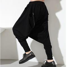 New Fashion Oversize Mens Womens Low Drop Crotch Harem Zipper Pocket Baggy Sweatpants Soft Cotton Dance Pants Slacks Trousers. Yesterday's price: US $29.57 (24.45 EUR). Today's price: US $29.57 (24.47 EUR). Discount: 13%.