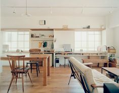 Wooden Table // Sunny Windows // White Walls // White Couch // Workspace // Home… Japanese Interior, Piece A Vivre, Interior Decorating, Interior Design, Living Styles, Japanese House, House Rooms, Cozy House, Home Living Room