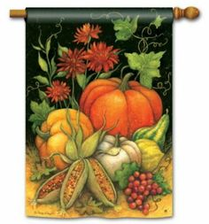 Seasons Harvest Autumn Standard House Flag by Magnet Works. $21.95. Vivid colors are fade and mildew resistant. Printed on SolarSilkTM 600 denier polyester. Design printed on both sides. Artist: Susan Winget. Premium house flag measures 28 inches wide x 40 inches high. BreezeArt Premium Flags are made of exclusive SolarSilk 600 denier polyester for greater durability, yet they have a softer, silkier feel for better drape and movement. Permanently dyed. Fade and mildew resis...