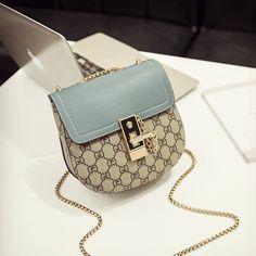 chain bags Blue Flap Shoulder Saddle Bag Mini Chain Bag with Lock Lv Bags, Gucci Bags, Chanel Bags, Purses And Handbags, Leather Handbags, Chanel Handbags, Celine Handbags, Designer Handbags, Expensive Handbags