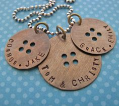 family+button+charm+necklace++hand+stamped+antique+by+juliethefish,+$40.00