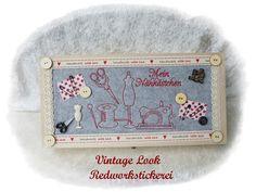 Nähkästchen Nähkorb im Vintage Look mit Stickerei  von Die Geschenkidee auf DaWanda.com