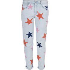 Stella McCartney Skinny Boyfriend Star Jeans (880 NZD) ❤ liked on Polyvore featuring jeans, pants, bottoms, pantalones, star print jeans, colorful skinny jeans, embroidered jeans, low-rise boyfriend jeans and skinny boyfriend jeans
