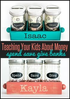 Kids and Parenting | These Spend, Save, and Give jars are simple to make and help kids learn how to manage money.