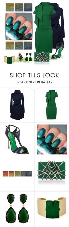 """""""Dinner Date (Green n Blues)"""" by deaniefrank ❤ liked on Polyvore featuring Dsquared2, Sergio Rossi, INDIE HAIR, Robert A. Brown and Anne Moran, Nathalie Trad, Kenneth Jay Lane, Sole Society and Alexis Bittar"""