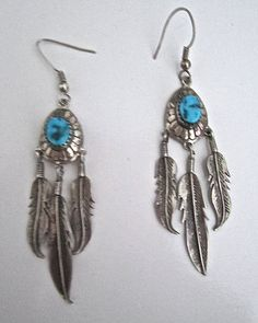 Native American Indian Sterling Silver Feather Turquoise Stones Dangle Earrings #Unbranded