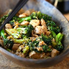 Easy Chicken Broccoli Stir Fry Recipe Main Dishes with peanut oil, garlic cloves, ginger, broccoli, boneless chicken breast, oyster sauce, soy sauce, granulated sugar, low sodium chicken broth, sesame seeds, toasted sesame oil, corn starch