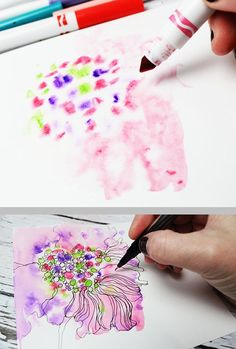 Neat tips for using inexpensive water-based kids' markers, by Alisa Burke -- blending, wet-on-wet technique, making alcohol ink #art_journal
