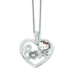 Sterling Silver Hello Kitty Crystal/Enamel Heart Red Bow Collection Necklac QHK145