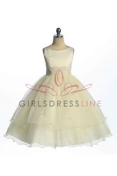 I Love It! Ivory Double Layer Tulle Flower Girl Dress on www.GirlsDressLine.Com. This would be PERFECT!