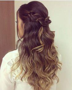 Braid + Half up half down hairstyle #weddinghair #hairstyle #promhair #bridalhair #halfuphalfdown #hairdown #bridehairideas