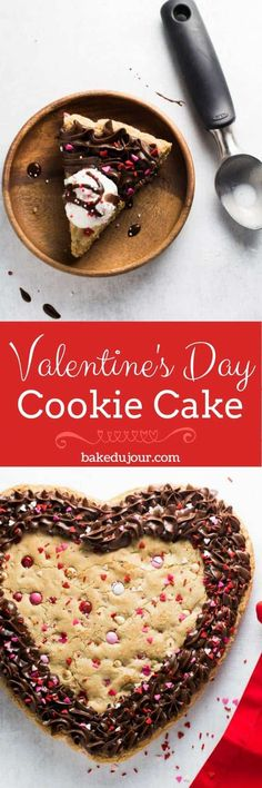 This easy recipe for a Valentine's Day Cookie Cake, stuffed with white chocolate chips and an abundance of sprinkles, is sure to be a crowdpleaser! #valentinesdaycookie #valentinesdaydessert #valentinesdaybaking #valentinesdaytreats #valentinesdaycake #cookiecake | bakedujour.com