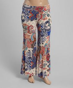 Another great find on #zulily! Ivory & Blue Paisley Palazzo Pants - Plus by MOA Collection #zulilyfinds