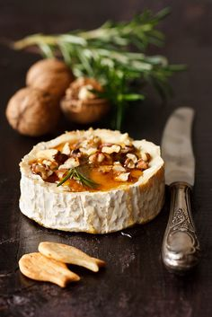 Brie baked with honey and walnuts.