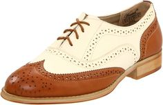 "Wanted Shoes Women's Babe Oxford Shoe | Oxford Shoes--------Colors Available: Tan/Natural, Tan, Black, Black/White, Brown, Black Patent, Gold, Pewter,  Silver, Blue,  Burgundy 100% Synthetic- Synthetic sole--------- Heel measures approximately 1"" ---------Lace-up wingtip shoe featuring pinking-trimmed overlays with allover broguing and medallion toe--------- Stacked heel--------- Beautiful,Elegant,Classic Oxford Shoes suitable for Work, Casual and Party Wear for Summer/Spring 2016---------"