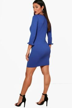 ba92c75bb8 Boohoo Frill Cuff Bodycon Dress Blue Size UK 14 DH180 CC 04  fashion   clothing  shoes  accessories  womensclothing  dresses (ebay link)