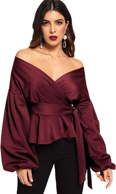 online shopping for SheIn Women's Long Sleeve V Neck Ruffle Blouse Off Shoulder Tie Waist Wrap Tops from top store. See new offer for SheIn Women's Long Sleeve V Neck Ruffle Blouse Off Shoulder Tie Waist Wrap Tops Blouse Peplum, Ruffle Blouse, Dress Lace, Dress Shoes, Shoes Heels, Mode Hijab, Office Ladies, Off Shoulder Tops, Types Of Sleeves