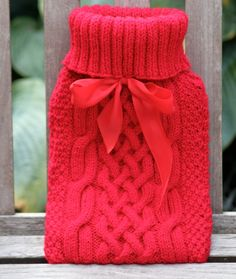 knit hot water bottle cover