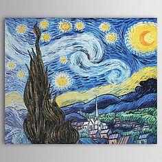 pintados à mão pintura a óleo de uma noite estrelada por Vincent van Gogh com moldura esticado – BRL R$ 217,96