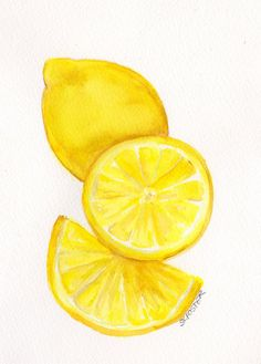 3  Lemons  Watercolor Painting Fruit Series 5 x by SharonFosterArt, $18.00