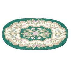 Wool Oval Traditional #Area #Rug Hooked Green Floral 3' x 5' # 64258 Shop --> http://www.rensup.com/Rug/Rugs-Green-Floral-Wool-Rug-Hooked-3-x-5-Oval/pd/64258.htm
