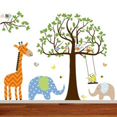 Childrens Wall Decal   Jungle Safari Tree by wallartdesign on Etsy