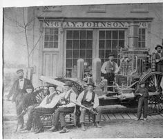 Firefighters from Engine Company No. 6 and their steam engine, 2427 Portland Avenue, Louisville, Kentucky, 1874. :: R. G. Potter Collection