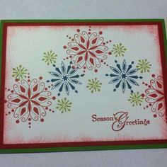 Stampin' Up! Christmas card. Like the shot of Blue with the red and green.