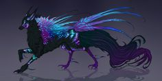 Comm: Cerulean Moonlight Feonix Design by MischievousRaven Cute Fantasy Creatures, Mythical Creatures Art, Mythological Creatures, Magical Creatures, Fantasy Wolf, Fantasy Beasts, Fantasy Art, Creature Drawings, Animal Drawings