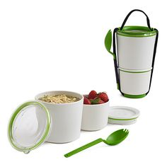 this is great... it's a bpa-free plastic and can go in the microwave.  have one i love that's metal, but the reheating is then hard... i've been getting into a good habit of taking leftovers in mason jars, though, and they microwave well!!