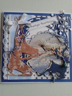 Kerstkaart met rondje uit oude kaart. Paar schaatsen erbij van mariannemal . Nu nog verder versieren met hertjes.tekst en kant met strikje...