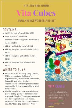 Vita Cubes are cube soft like candies that are rich in vitamins and minerals.  Vita Cubes are not just candies, these little jelly candies contain vitamins and minerals. They contain Vitamin A, Vitamin B, Vitamin C, Vitamin E, Lysine and Zinc which are essentials to our growing children.