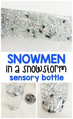 Snowstorm sensory bottle full of snowmen mini erasers! Sensory bottles are perfect for toddlers and preschoolers in circle time and for calm down areas.