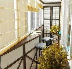 фото оформления балкона изнутри, концепция – маленькое кафе.