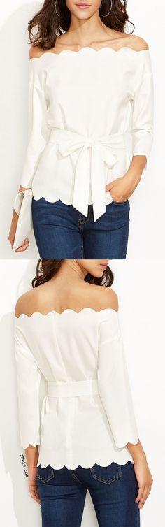 Be elegant & feminine! Love chic scallop trim, pretty big bow tie, and love pure white! Love the elegant blouse from shein.com!