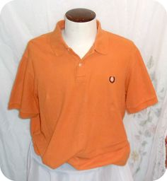 CHAPS Polo Shirt Size XL Mens Orange Short Sleeve Cotton  #Chaps #PoloRugby
